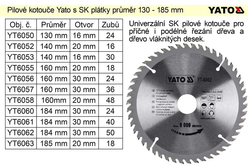 Kotouč pilový vidiový YATO 140x16zx20 mm YT-6052