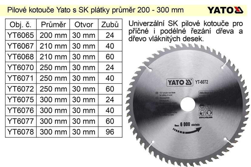 Kotouč pilový vidiový YATO 210x40zx30mm YT-6067