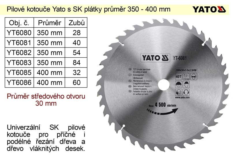 Kotouč pilový vidiový YATO 350x54zx30mm YT-6082