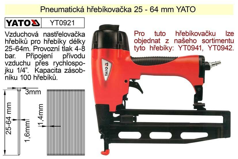 Pneu hřebíkovačka YATO YT-0921