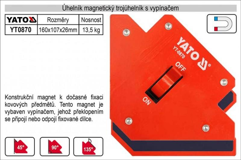 Úhelník magnetický YATO s vypínačem 107x169x26mm YT-0870