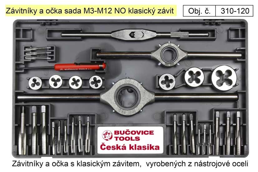 Závitníky a závitová očka sada M3-M12 NO 310-120
