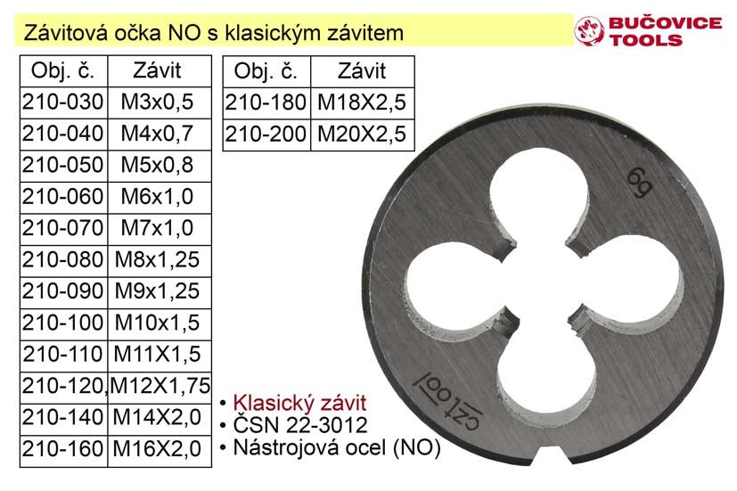 Závitové očko M12x1,75 NO klasický závit 210-120