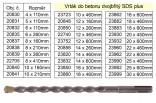 Vrták SDS+ VOREL do betonu 22x600mm dvojbřitý 23962