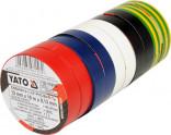 Izolační pásky elektrikářské YATO PVC 12mmx10m barevné balení 10ks YT-8156
