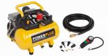 Kompresor bezolejový POWERPLUS 750W, 6L, + 10ks příslušenství POWX1724S