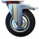 Kolo gumové černé ERBA s brzdou otočné motážní ploška 200mm, 230kg  ER-33119