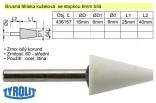 Brusné tělísko kuželové TYROLIT se stopkou 6mm bílé 16/6x25mm 436157
