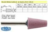 Brusné tělísko kuželové TYROLIT se stopkou 6mm růžové 20/10x32mm 436165