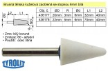 Brusné tělísko kuželové zaoblené TYROLIT se stopkou 6mm bílé 20x32mm 436177